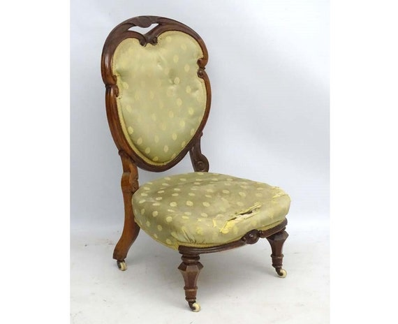 Georgian nursing or bedroom chair with pretty heart shape back upholstery project