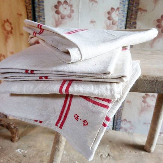 Antique French red stripe linen torchons