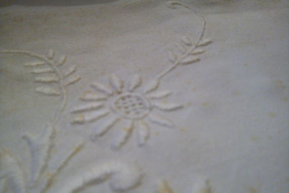 Beautiful antique French linen monogrammed and daisy embroidered bedding bridal or dowry top sheet