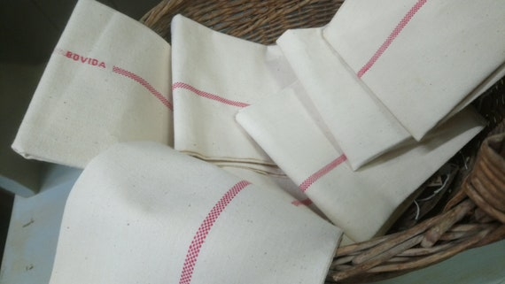 Beautiful vintage French linen tea cloths with red stripe
