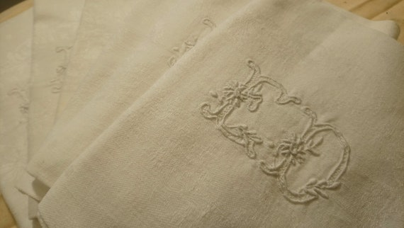 Beautiful antique French set of six embroidered and monogrammed napkins