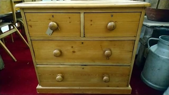 Petite sized antique old stripped honey pine chest of drawers