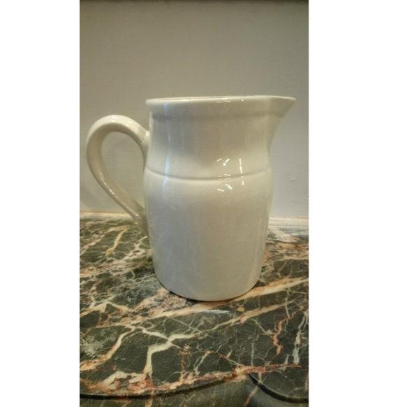 Vintage French large Digoin white stoneware milk jug