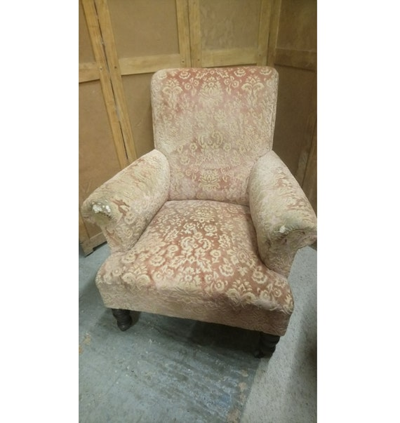 Antique Victorian armchair in scroll arm shape for upholstery project