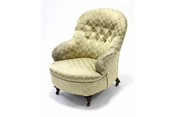 Antique Victorian armchair stamped CVS in pretty button back tub shape for upholstery project