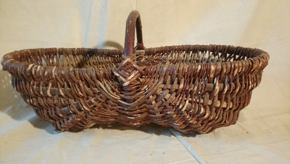 vintage French woven hazel long shaped mushroom basket