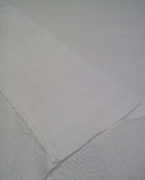 Beautiful antique French bedding top sheet with embroidered turn-down edge
