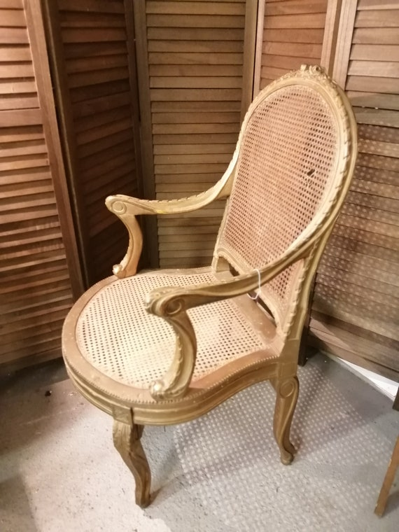 Pretty antique French Louis XV style bergere cane gilt armchair