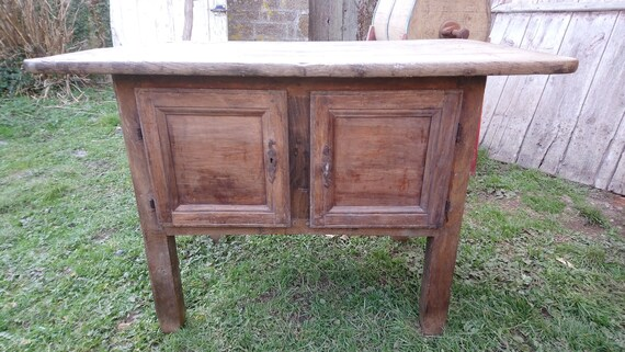 Antique French oak sideboard cupboard with wide overhanging plank top