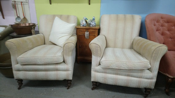 Antique pair of Victorian scroll back armchairs with squab cushions for upholstery project
