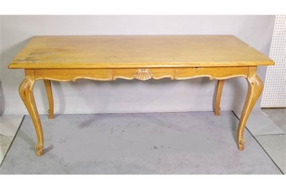 French antique pine or poplar kitchen dining table with drawers