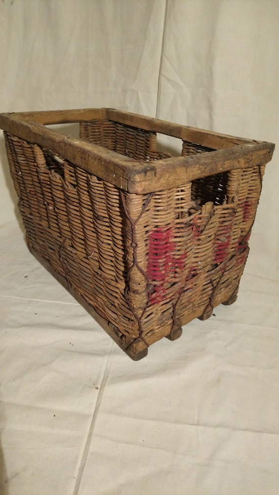 Vintage rustic wood and wicker French bottle carrier storage box crates