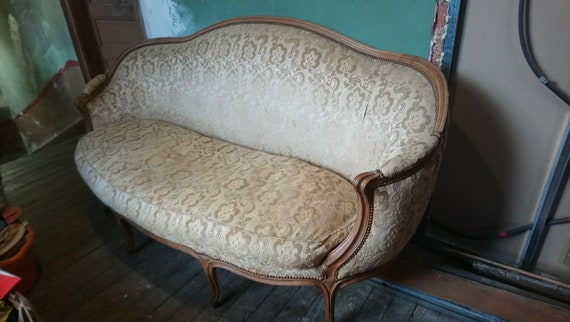 French antique canape upholstered salon sofa with squab cushion collect from us or ask for a courier quote