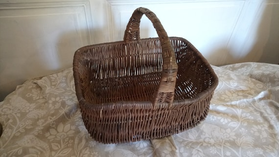 vintage French woven twig dark coloured farmers market basket