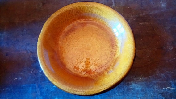 Fabulous 1960's Rene Milon French art pottery deep plate dish in amber colour