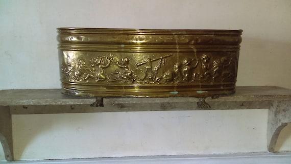 Large French vintage or antique brass decorative cherub garden planter or log tub