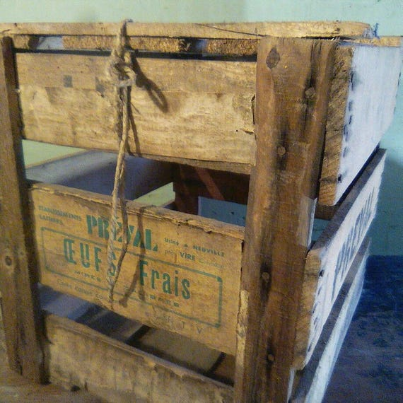 Vintage rustic wood French storage boxes egg crates with lids
