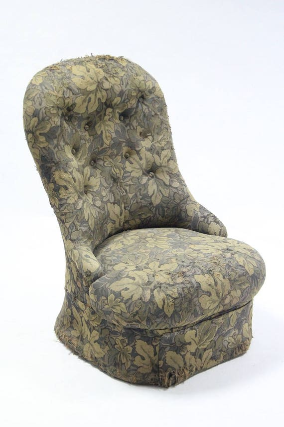 antique button back bedroom chair for re-upholstery