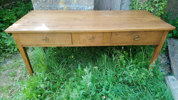 Antique French golden oak serving console side table with drawers