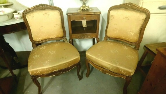 Antique pair of  beautifully carved gilt French Louis XV style salon chairs
