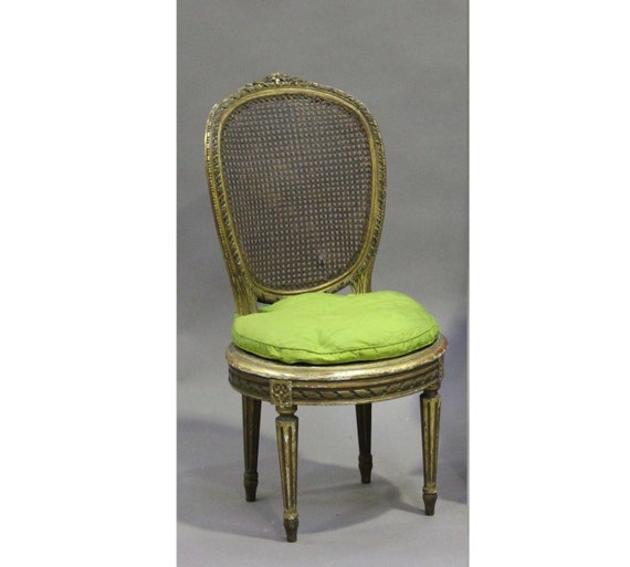 Pretty carved gilt framed Louis XVI style cane chair with cushion