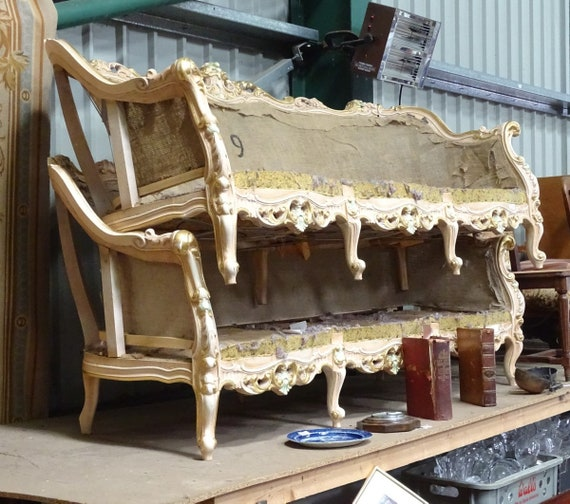 Ornate Louis XV style three seat sofa frames for complete upholstery