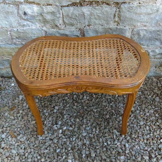 Antique French cane topped carved frame stool or side table