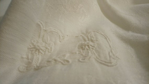 Beautiful antique French embroidered and monogrammed tablecloth