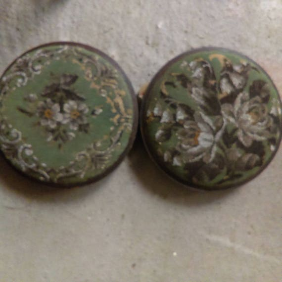 Pair of antique Nineteenth Century beaded tapestry top round footstools