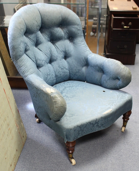 Antique Victorian armchair in pretty button back tub shape for upholstery project