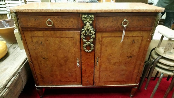 Antique gorgeous Louis Philippe burr walnut and marble sideboard buffet with ormolu decoration