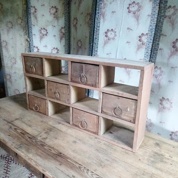 Antique French industrial chic workshop pigeonholes with drawers shop display