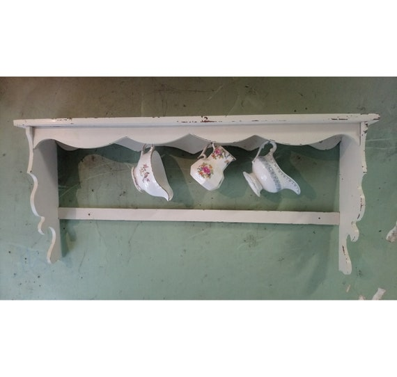 Vintage French painted pine open shelves with cup hooks collect from us or ask for courier quote