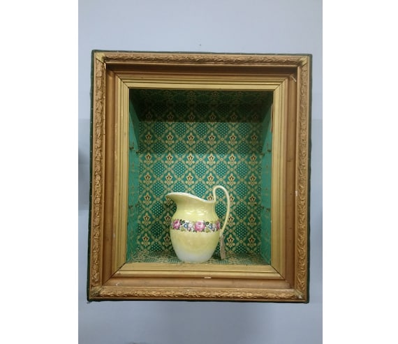 Antique French large gilt box frame vitrine display case