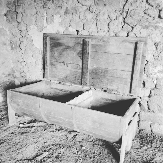Antique French oak dough bin trough in rustic rare barrel form ideal coffee table