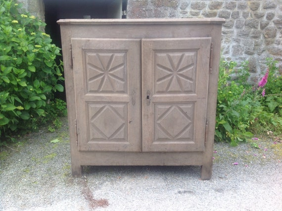 Antique French carved oak Breton linen or larder food cupboard with drawers and shelves inside. Collect from us or ask for UK shipping quote