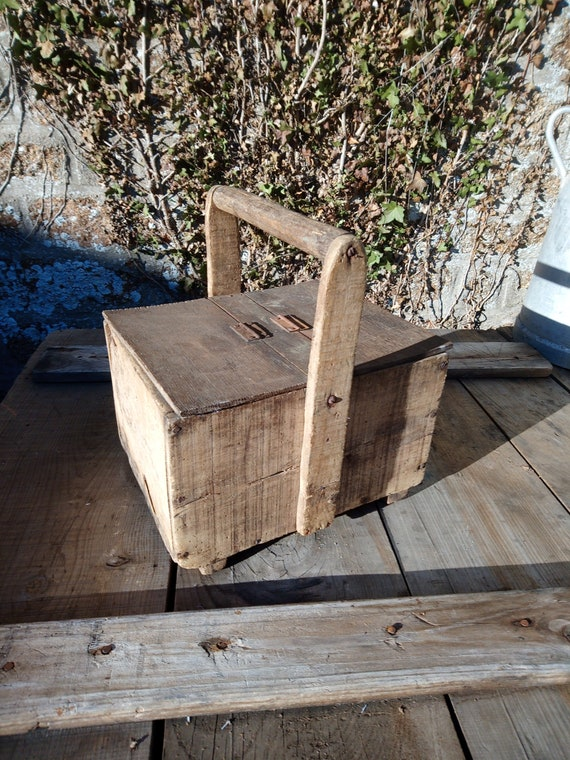 Vintage French handmade wooden workman's trug with hinged lids