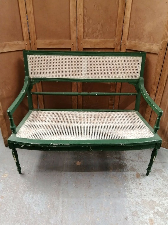 Antique French cane seated bench sofa