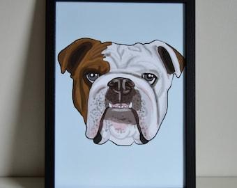 English Bulldog A4 Art Print