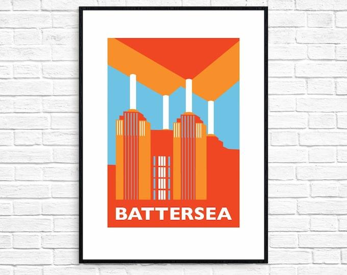 BATTERSEA POWER STATION Travel Poster - London Print - Art Deco - Illustration by Rebecca Pymar