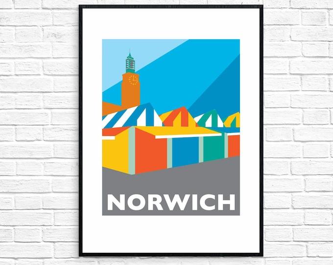 NORWICH Travel Poster - NORWICH MARKET - Art Deco Print - Illustration by Rebecca Pymar