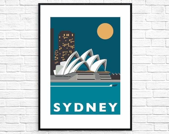 SYDNEY Travel Poster - Sydney Opera House - Art Deco Print - Illustration by Rebecca Pymar