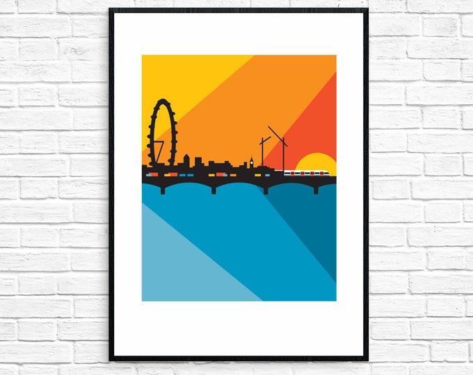 LONDON - WATERLOO Sunset - Travel Poster - Art Deco - Illustration by Rebecca Pymar