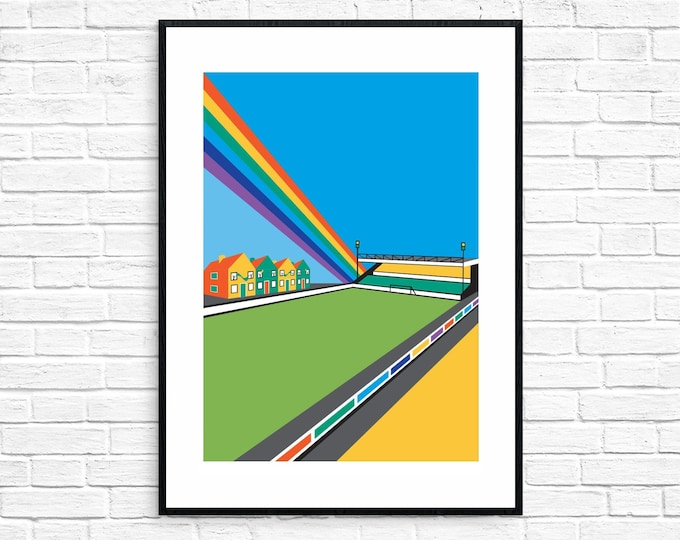 CARROW ROAD Limited Edition FA Cup Print - Norwich City Football Club Stadium - Art Deco Print - Illustration by Rebecca Pymar