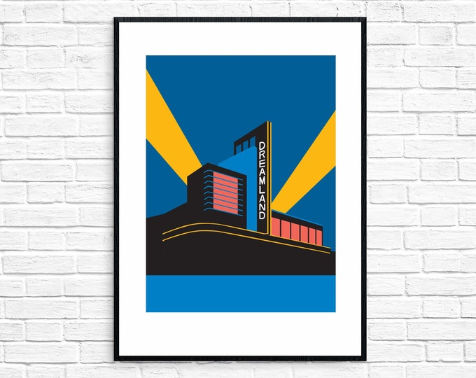 SECONDS SALE - DREAMLAND Travel Poster - Margate - Art Deco Print - Illustration by Rebecca Pymar