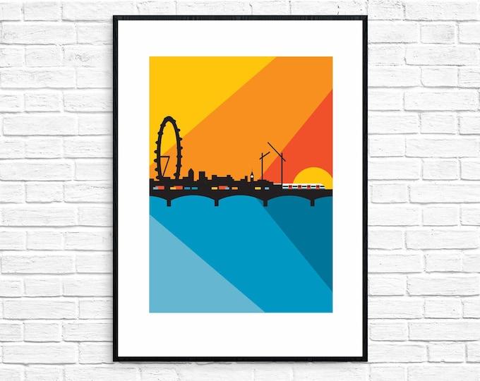 SECONDS SALE! LONDON - Waterloo Sunset - Travel Poster - Art Deco - Illustration by Rebecca Pymar