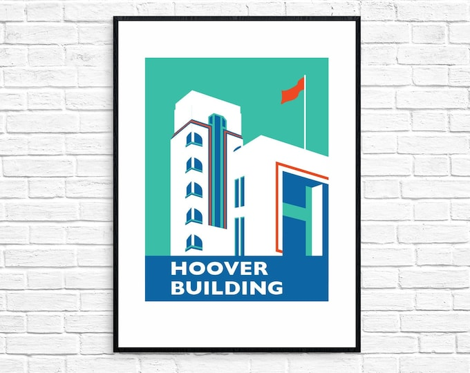 THE HOOVER BUILDING Travel Poster - London Print - Art Deco - Illustration by Rebecca Pymar