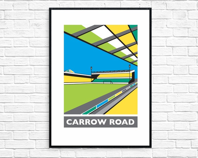 SECONDS Sale - CARROW ROAD Travel Poster - Norwich City Football Club Stadium - Art Deco Print - Illustration by Rebecca Pymar