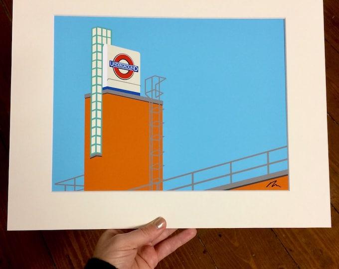 London Underground print - Boston Manor Station II - Mounted Print - London Underground illustration - Art Deco Tube Station Series