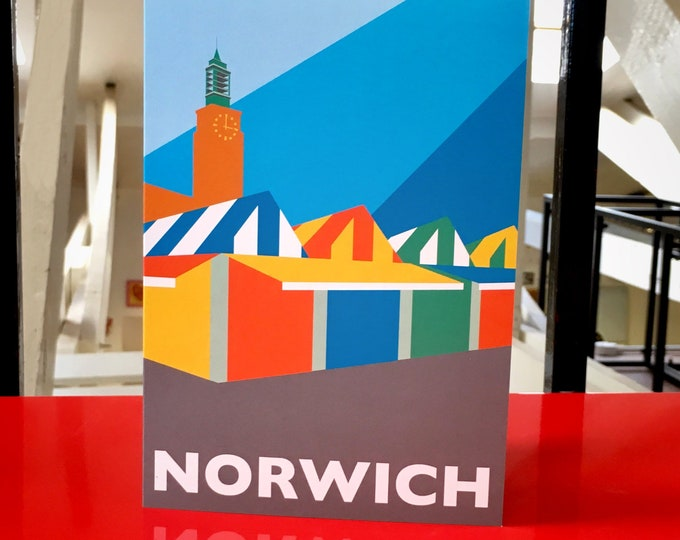 NORWICH Market and Town Hall Travel Poster Style Greetings Card by Rebecca Pymar